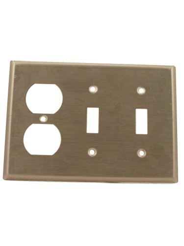 Copper Steel Duplex Outlet - Leviton 84021-40 Standard Size, 302 Stainless Steel, Device Mount, 3-Gang 2-Toggle 1-Duplex Device Combination Wallplate, Stainless Steel