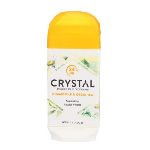 Crystal Body Deodorant, Invisible Solid Deodorant, Chamomile & Green Tea, 2.5 oz, Pack of 3