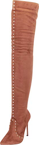 (Cambridge Select Women's Thigh-High Pointed Toe Studded Stiletto High Heel Over The Knee Boot,10 B(M) US,Taupe IMSU)