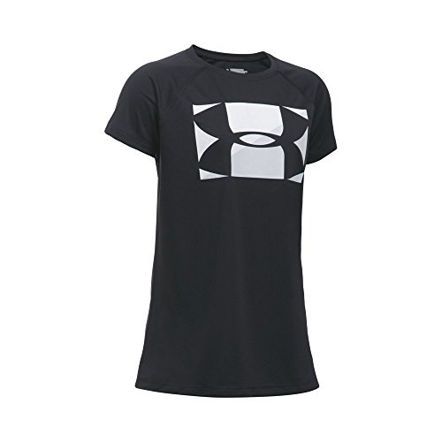 - Under Armour Girls' Big Logo T-Shirt, Black /Glacier Gray, Youth X-Large