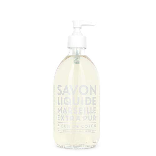 Compagnie de Provence Savon de Marseille Extra Pure Liquid Soap - Cotton Flower - 16.9 Fl Oz Glass Pump Bottle