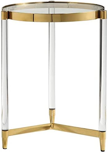 Uttermost Kellen 16″ Round Glass Top Accent End Table