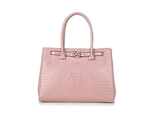 LeahWard® Damen Mode Patent Berühmtheit Croc Drucken Tragetasche Essener Qualität Shinny Schulter HandTaschen CWB1231M (Rosa)