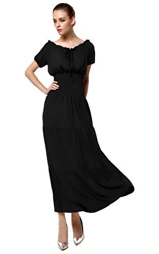 Meaneor Women's Stonewashed Rayon Embroidered Dress Calliope Corset Style Dress Black L ()