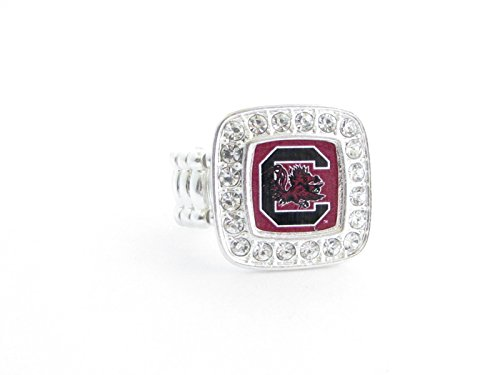 Officially Licensed University of South Carolina Gamecocks Silvertone Crystal Studded Stretch Ring - South Carolina Logo Square