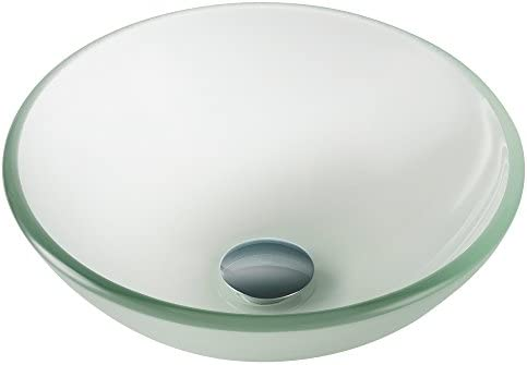 Kraus GV-101FR-14 Frosted 14 inch Glass Vessel Bathroom Sink