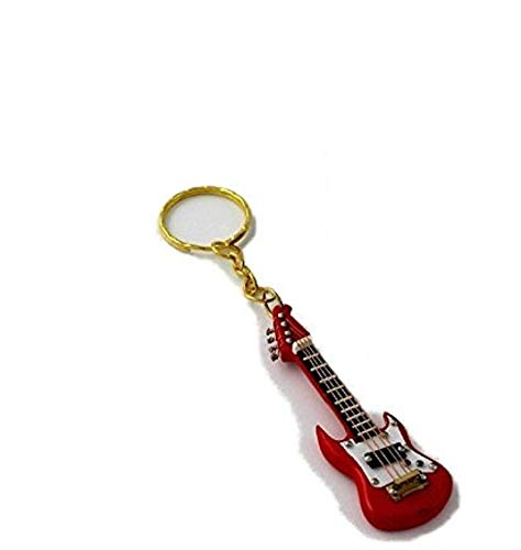 2503-4659-Llavero guitarra eléctrica miniatura roja 7 centimetros. Con estuche: Amazon.es: Hogar
