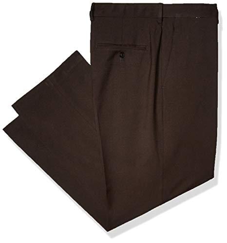 Haggar Men's Premium Comfort Classic Fit Flat Front Expandable Waist Pant, Black, 36Wx32L ()