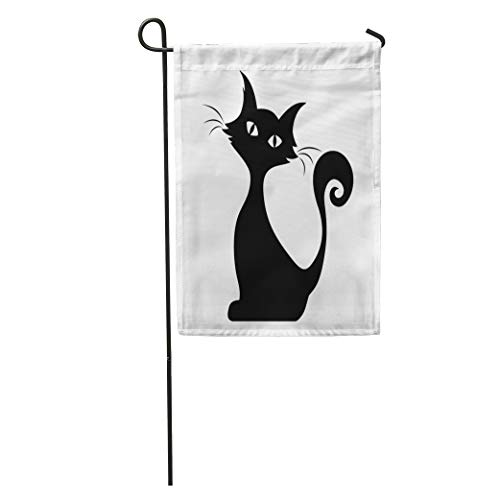 Semtomn Garden Flag Halloween Black Silhouette of Sitting Cat Graphic Tail Outline Stencil Home Yard House Decor Barnner Outdoor Stand 28x40 Inches Flag -