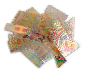 1/4 Lb Dichromagic Tie Dye Pattern Scrap On Clear - 90 Coe ()