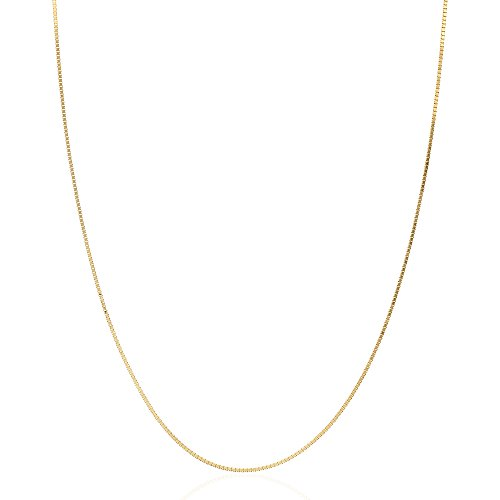 Solid 14k Yellow Gold White Gold 1mm Diamond Cut Box Chain Necklace 16