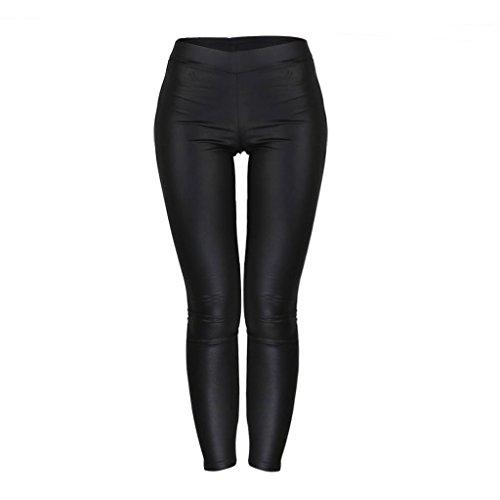 JNTworld Women sexy low waist leggings (XXL, matt black)