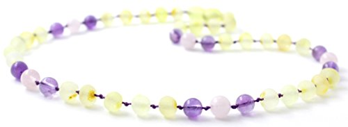 Raw Baltic Amber Teething Necklace made with Amethyst and Rose Quartz Beads - Size 12.5 inches (Baby/Toddler/Children) - BoutiqueAmber (Raw Lemon/Amethyst/Rose Quartz, 12.5 (Long Baltic Amber Necklace)