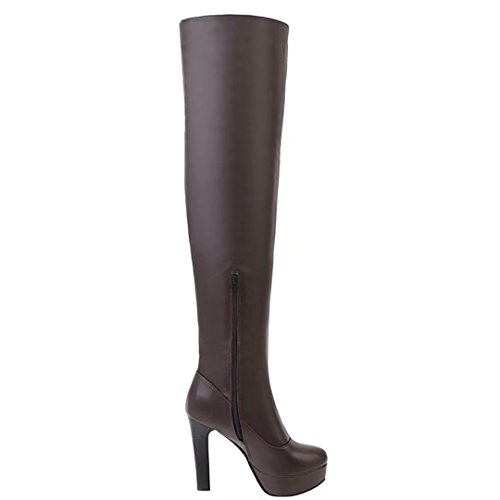 Aiyoumei Vrouwen Stretch Stiletto Hoge Hakken Platform Winter Over De Knie Laarzen Bruin