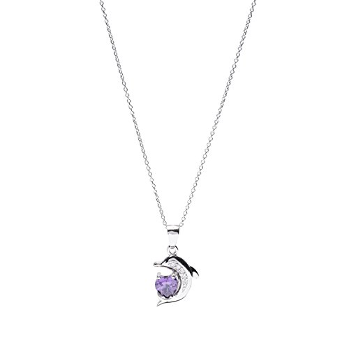 Sterling Silver Heart CZ Dolphin Pendant Necklace, 18