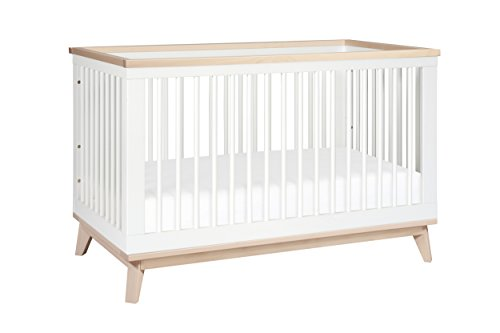 Babyletto Scoot 3-in-1 Convertible Crib with Toddler Bed Conversion Kit, White Washed Natural
