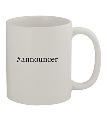 #announcer - 11oz Sturdy Hashtag Ceramic Coffee Cup Mug, White