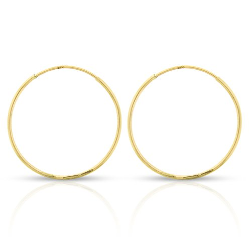 14k Yellow Gold Women's Diamond Cut Endless Tube Hoop Earrings 0.8mm Thick 10mm - 20mm (20mm)