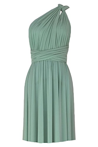 Back Wrap Gown (E K Women's Convertible Multi Way Short Dress Knee Length Infinity Gown-Sage Green-XS-m)