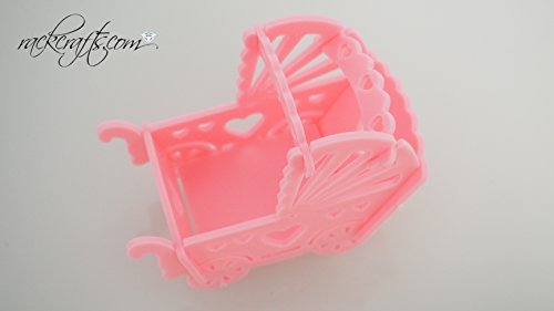 rackcrafts.com Large Mini Plastic Baby Carriage Stroller Party Favor Decoration Replica Cute (Light Pink)