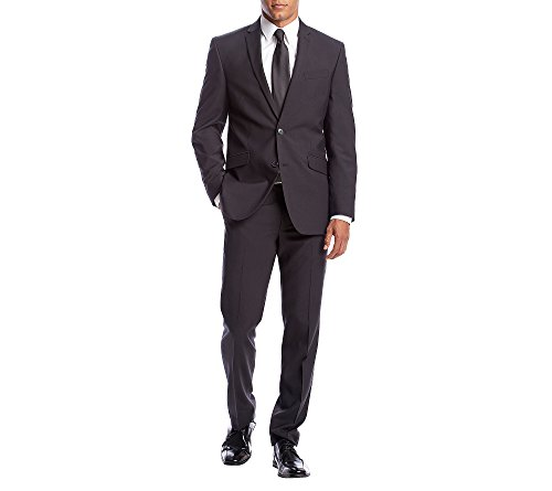 Kenneth Cole Slim Fit Suit (Kenneth Cole REACTION Men's Pindot Stretch Slim Fit Suit With Hemmed Pant, Black, 40 Regular)