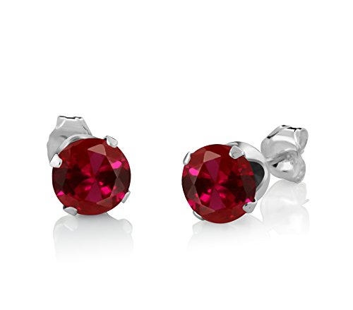 Gem Stone King 925 Sterling Silver Created Ruby Pendant and Earrings Set, 2.40 Ct Round Cut With 18  - http://coolthings.us