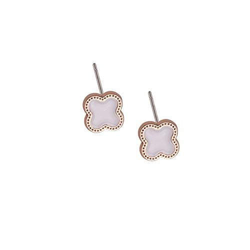 Jin Sheng 14K Gold Plated Rose Gold Titanium Steel Four Leaf Clover Charm Stud Post Earrings ()