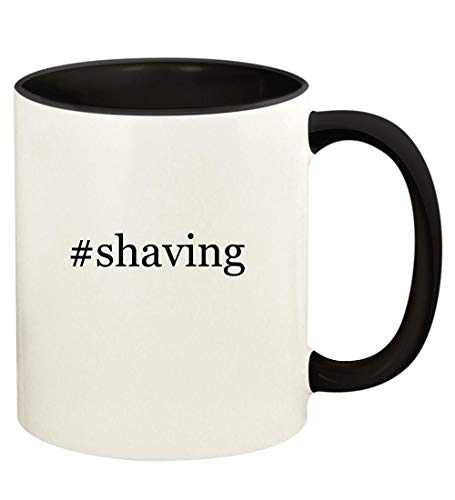 #shaving - 11oz Hashtag Ceramic Colored Handle and Inside Coffee Mug Cup, Black