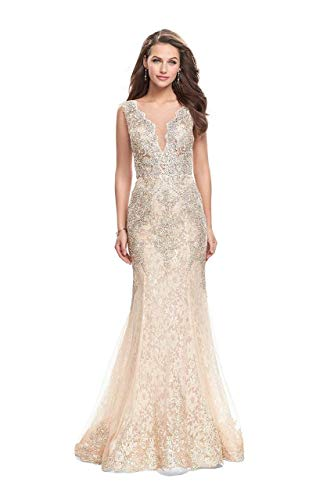 (La Femme Gigi 26125 Sleeveless Illusion Scalloped Lace Mermaid Gown in Gold/Nude)