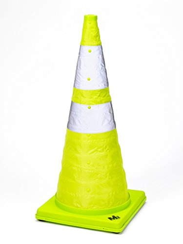 Mutual Industries 17712-1-28 Collapsible Reflective Traffic Cone with Inside Light, 28
