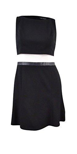 Lauren Ralph Lauren Women's Gabardine Popover Fit and Flare Sleeveless Dress (14, Black/Ivory)