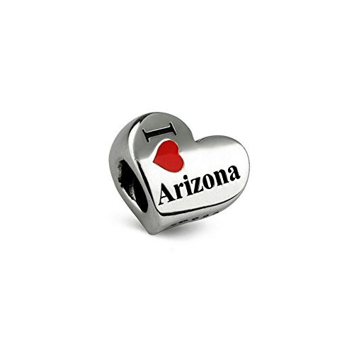 Ohm Beads Sterling Silver I Heart Arizona Bead - State Sterling Silver Charm Arizona