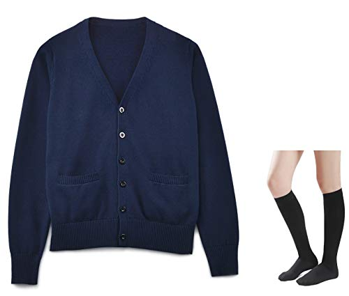 Long Sleeve deep V-Neck Knitted Button up Cardigan Sweater Anime Japanese School Girl Uniform with Socks Set(Navy XL) ()