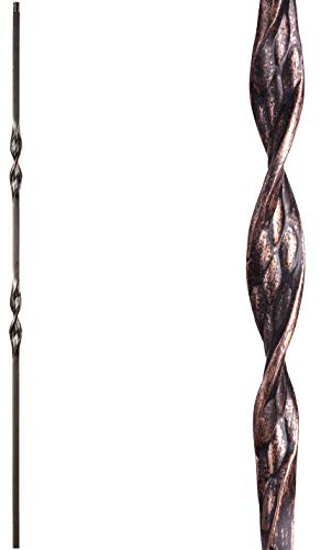 Wrought Iron Ribbon - Oil Rubbed Bronze 16.1.6 Double Ribbon Solid Iron Baluster for Staircase Remodel, Box of 5