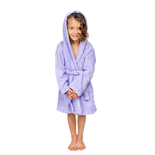 Girls Terry Cloth Robes - Bagno Milano Kids - Unisex Hooded Bathrobe - 100% Organic Turkish Cotton - Boys - Girls Robe, Made in Turkey (Small/Age 3-5, Purple)