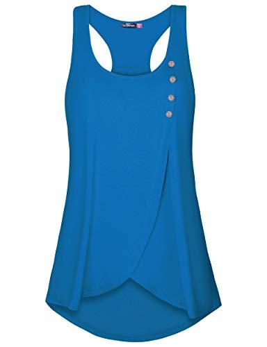 (Le Vonfort Summer Bikini Tanks Tops Womens Sleeveless Tunic Workout Shirt Loose Fit Racerback (Sapphire, X-Large))