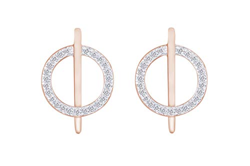 Aria Jewels Diamond Circle Bar Line Stud Earrings in 14K Rose Gold Over Sterling Silver (1/10 cttw)