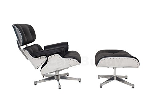 Mid Century Modern Classic Aluminum Aviator Lounge Chair & Ottoman With Premium Black Top Grain Leather Eames Style Replica