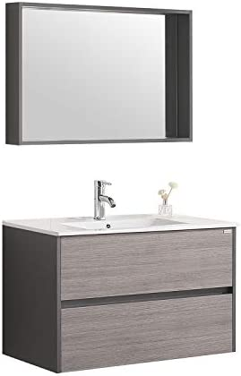 WONLINE Wall Mounted Bathroom Vanity Set Two Drawers Storage Cabinet with Ceramic Vessel Sink and Mirror Combo Chrome Faucet