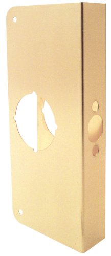 Prime-Line Products U 9548 1-3/4-Inch Thick by 2-3/8-Inch Backset 2-1/8-Inch Bore Non-Recessed Door Rein forcer, Brass ()