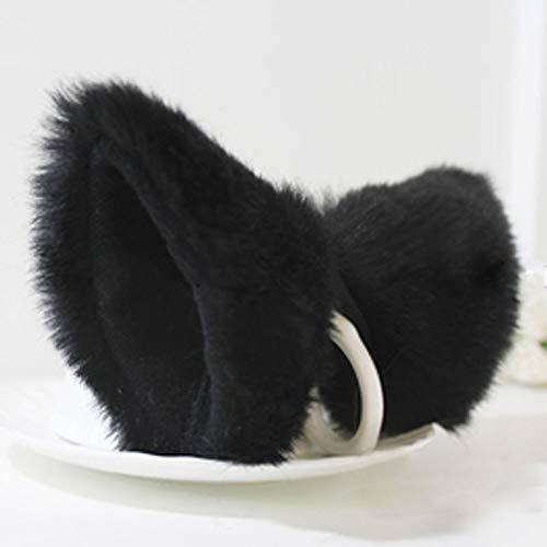 MEXUD Orecchiette Party's Cat Fox Long Fur Ears Anime Neko Costume Hair Clip Cosplay (Black) -