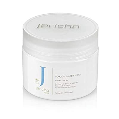 Jericho Black Mud Mask for Face & Body from Dead Sea, Acne, Psoriasis, Eczema and Arthritis Treatement, contains Aloe Vera, Olive Oil and Vitamin E, Paraben free, Non-irritating, 18oz, 500g