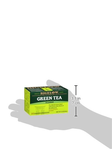 Bigelow Green Tea Bags, 20 Count Box (Pack of 6) Caffeinated Green Tea, 120 Tea Bags Total 7 DELICATE GREEN TEA: Our Classic Green Tea provides essential antioxidants making it delicious & healthy! Enjoy it as traditional hot tea or iced tea. INDIVIDUALLY WRAPPED: Bigelow tea always come individually wrapped in foil pouches for peak flavor, freshness and aroma to enjoy everywhere you go! Gluten -free, calorie-free, & Kosher certified. TRY EVERY FLAVOR: There's a tea for morning, noon & night time relaxation. Try our English Breakfast, Vanilla Chai, antioxidant Green Tea, decaffeinated, organic teas & a variety of our herbal tea bags.