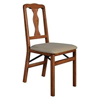 Beau Stakmore Queen Anne Wood Folding Chairs With Upholstered Seat   Set Of 2  Color   Cherry