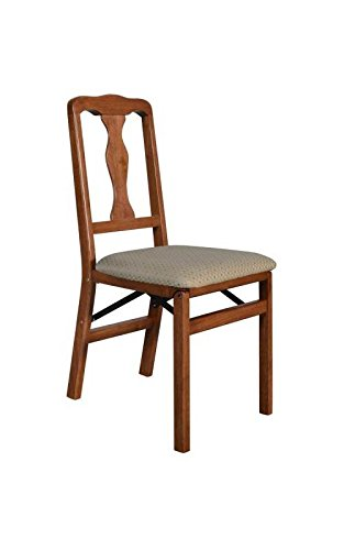 Stakmore Queen Anne Wood Folding Chairs with Upholstered Seat - Set of 2 Color -