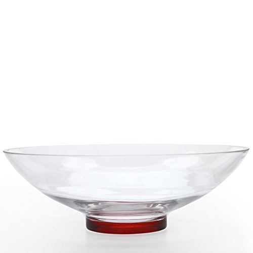 (Hosley Clear Glass Bowl with Red Bottom, 11.8