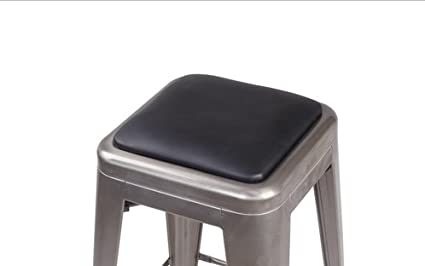 Gia Black Square Cushion 1 Pack Faux Leather Match Tolix Style Metal Stool Easy Assemble Extra Soft Super Comfortable Removable