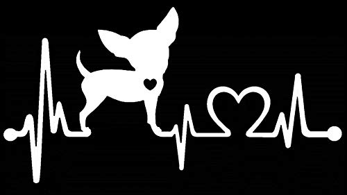Bluegrass Decals Chihuahua Heartbeat Monitor Decal Sticker (White, 7.5