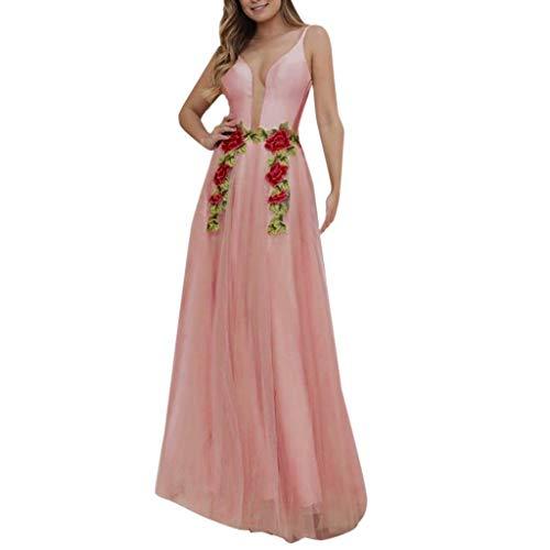 9fdb4db1d8e A Cerimonia Scollo Lunga Donna Elegante Ricamato Chiffo Vestito Rosa Abiti  Off Sera V Con VicgreyAbito ...