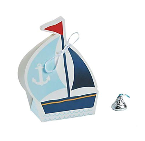 Fun Express Nautical Sailor Sailboat Party Favor Boxes | (24 -